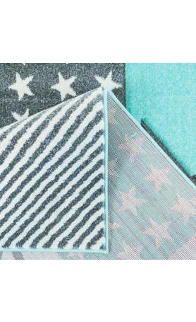 Kinderteppich teppich hochwertig mit sternen galaxy in pastell t rkis ebay - Sternen teppich kinderzimmer ...